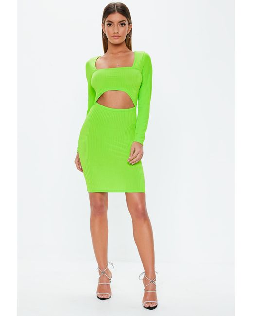 1724a97e79b75 ... Missguided - Neon Green Cut Out Ribbed Mini Dress - Lyst ...