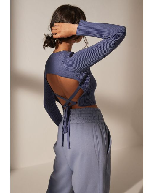 Missguided Blue Re_styld Rib Tie Back Crop Top