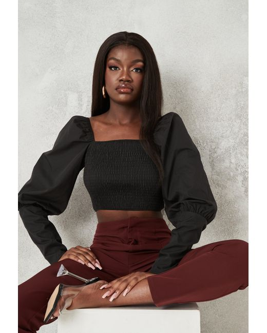 Missguided Black Puff Sleeve Shirred Crop Top