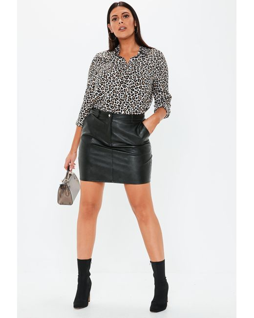 ad42f13e256 ... Missguided - Plus Size Black Faux Leather Mini Skirt - Lyst ...