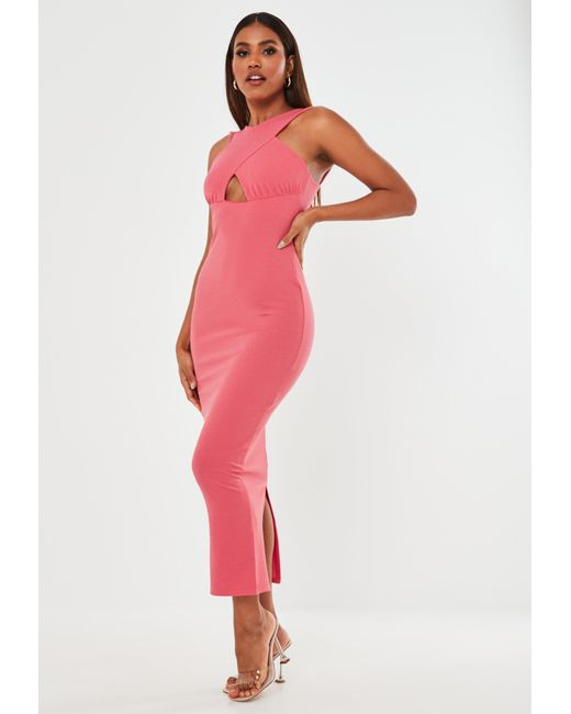 Missguided Pink Cross Front Halterneck Midi Dress