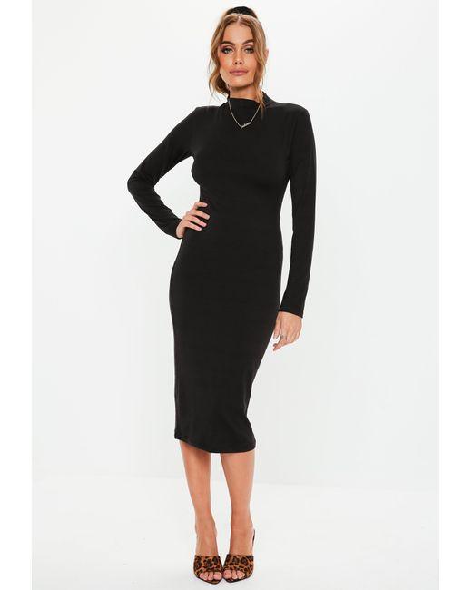 b16b5a590f307 Missguided Black Curve Hem High Neck Midi Dress in Black - Lyst