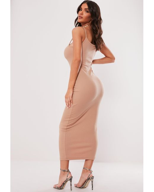 2dfae9f44f ... Missguided - Natural Nude Ribbed Strappy Bodycon Midi Dress - Lyst ...
