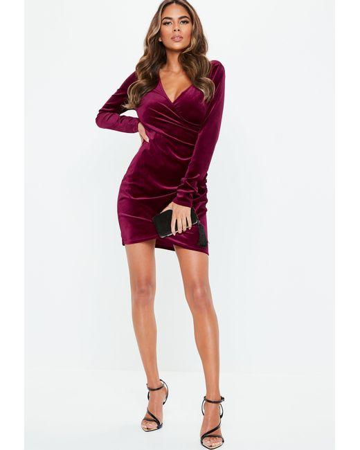 7fd9c74ede4f ... Missguided - Red Burgundy Velvet Wrap Mini Dress - Lyst ...