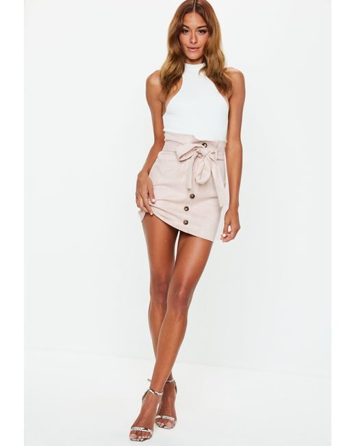 b31f69f3c ... Missguided - Multicolor Blush Faux Suede Paperbag Waist Mini Skirt -  Lyst ...