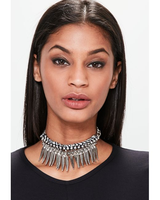 Missguided | Black Metal Statement Feather Chunky Chain Choker Necklace | Lyst