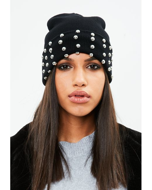 Missguided | Black Studded Detail Beanie | Lyst