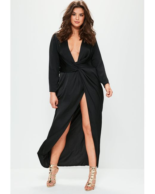 Missguided Plus Size Black Satin Thigh Split Wrap Maxi Dress In
