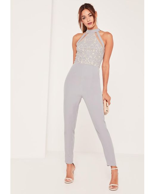 Missguided - Gray Grey Lace High Neck Sleeveless Jumpsuit - Lyst