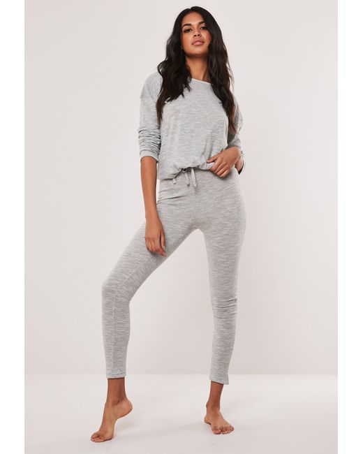 Missguided Gray Grey Soft Knit Long Sleeve Drawstring Loungewear Set
