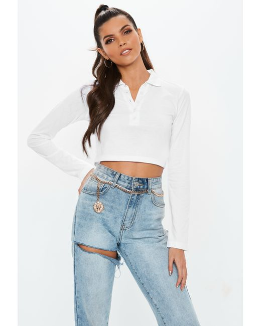 f6851f9fb59ea Lyst - Missguided White Button Front Polo Crop Top in White