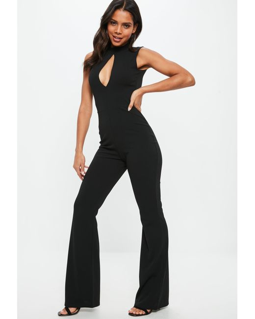 Missguided - Black Split Front High Neck Jumpsuit - Lyst