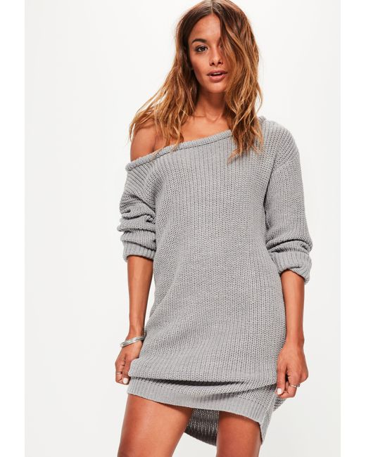 ed5e971eb5e1 Lyst - Missguided Grey Off Shoulder Knitted Jumper Dress in Gray ...