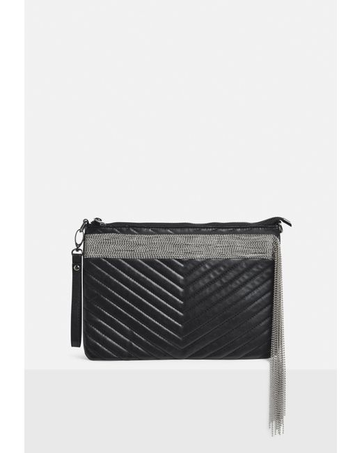 Missguided - Black Faux Leather Quilted Chain Fringe Clutch Bag - Lyst