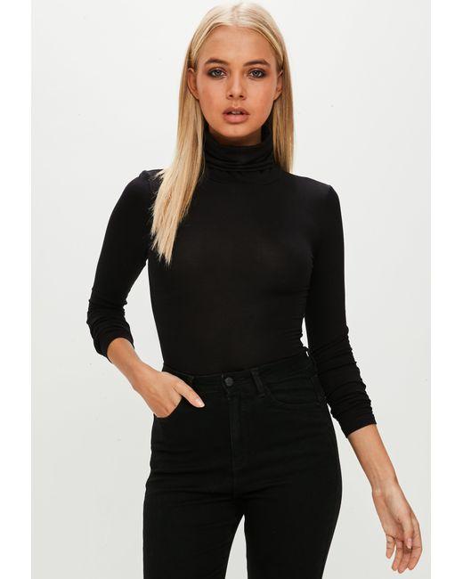 Missguided - Black Tutleneck Bodysuit - Lyst