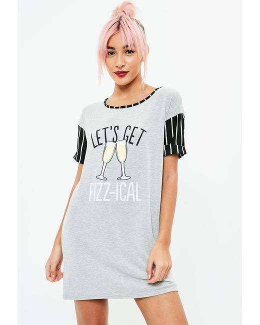 Missguided - Gray Grey Let's Get Fizzical Printed Night Tee - Lyst