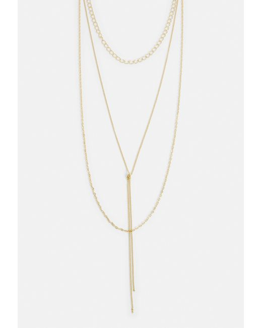 Missguided - Metallic Gold Multi Layer Knot Necklace - Lyst