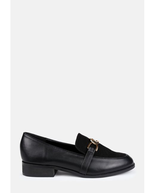 Missguided Black Faux Suede Panel Link Loafers