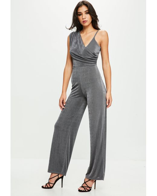 Missguided - Gray Grey Drape Shoulder Slinky Wide Leg Jumpsuit - Lyst
