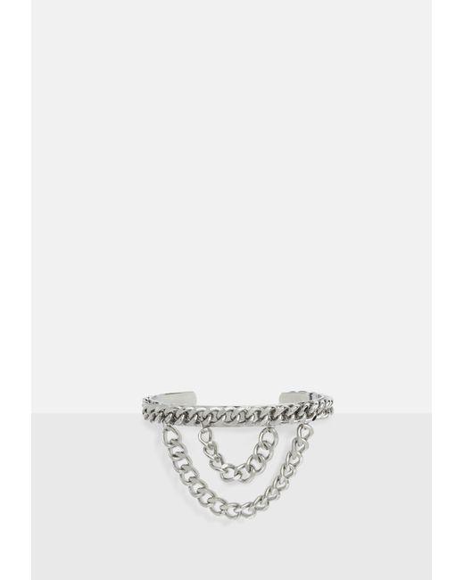 Missguided - Metallic Silver Multi Row Chain Arm Cuff - Lyst