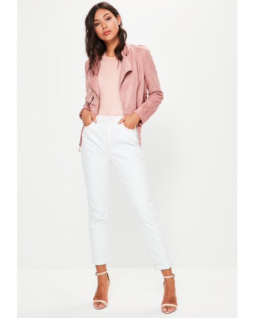 Missguided - White Riot High Rise Pink Stitch Mom Jeans - Lyst