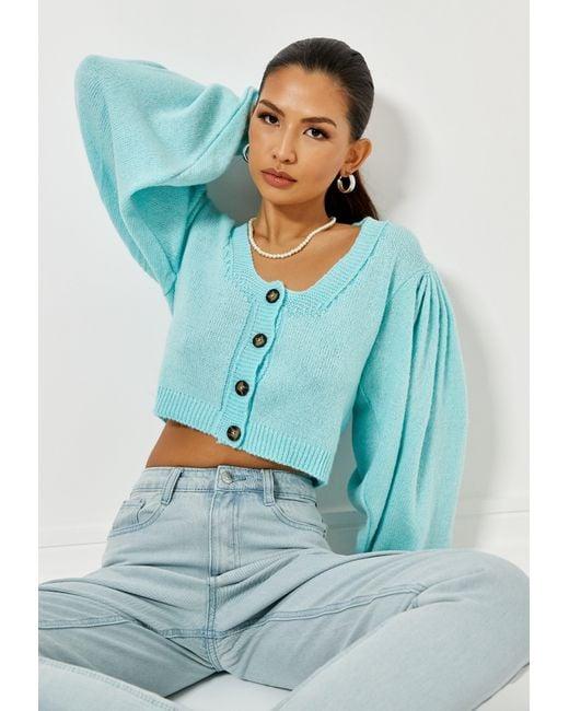 Missguided Green Mint Puff Sleeve Basic Knit Cardigan