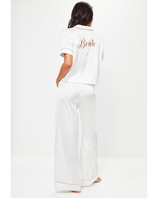 Missguided | White Satin Bride Piped Pyjama Set | Lyst