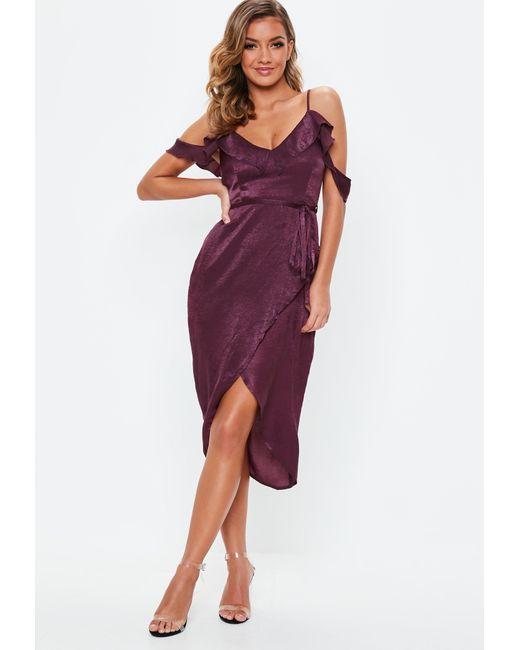 Missguided Purple Plum Satin Frill Midi Dress Lyst