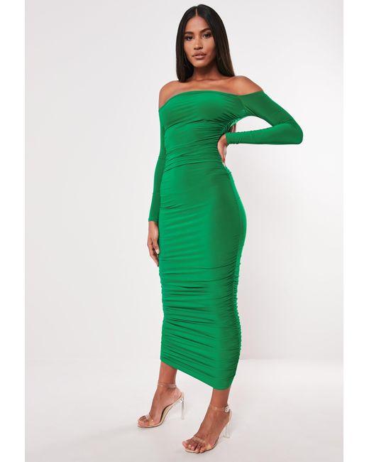 da261eaa08d Women's Green Bardot Slinky Ruched Bodycon Midaxi Dress