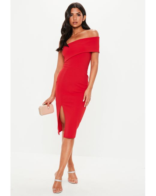 4dc47851d2b7 Missguided Red One Shoulder Midi Dress in Red - Lyst