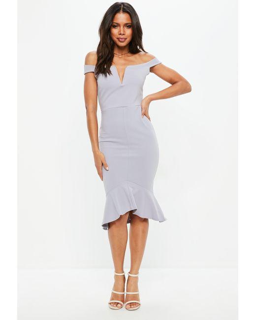 Missguided - Gray Tall Grey V Bar Bardot Frill Hem Midi Dress - Lyst