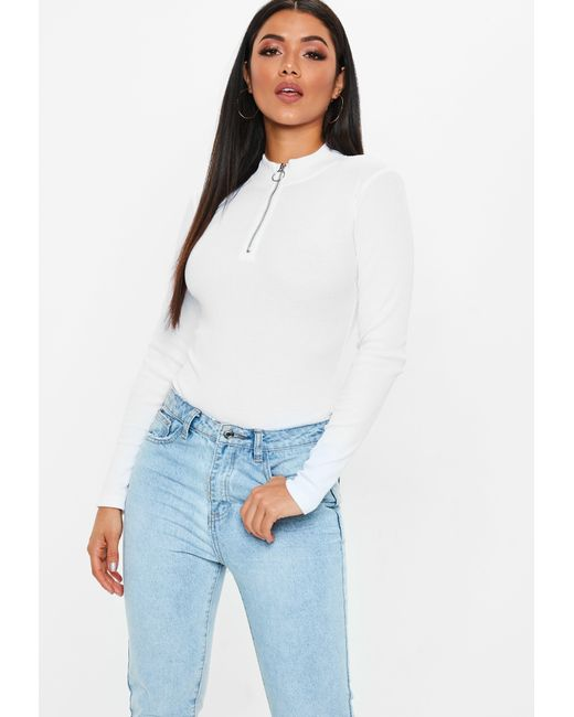 Lyst - Missguided White Zip High Neck Rib Bodysuit in White - Save 9% 2615af59f