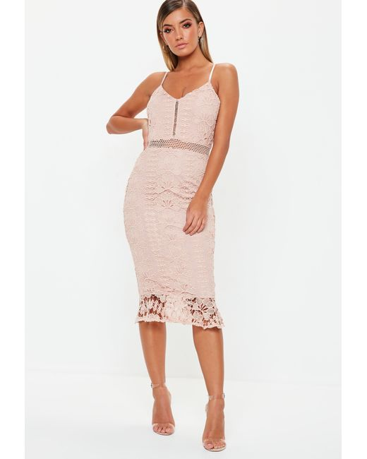 Missguided - Natural Nude Ladder Lace Midi Dress - Lyst ... a7071c41a