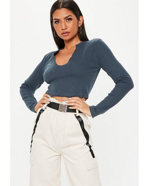 d57e3947290f1f Missguided - Blue Navy Long Sleeve Notch Front Crop Top - Lyst ...