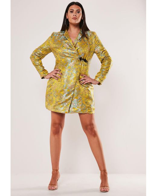 Plus Size Yellow Jacquard Satin Blazer Dress
