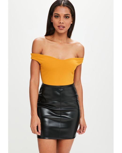 Missguided   Yellow Bardot Crepe Bodysuit   Lyst