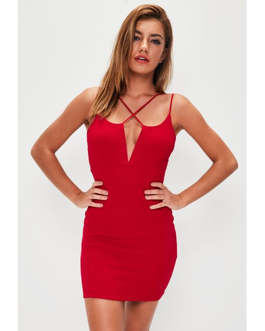 Missguided - Red Multi Strap Bodycon Dress - Lyst