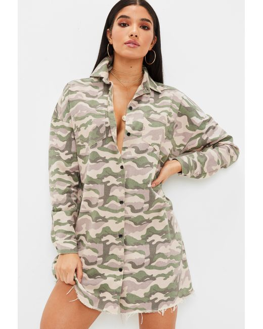 Missguided - Natural Nude Camo Shirt Dress - Lyst