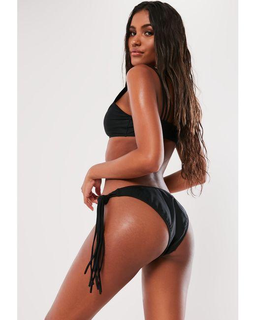 a4044c4cd1e9e ... Missguided - Black Tie Side High Leg Bikini Bottoms - Lyst ...