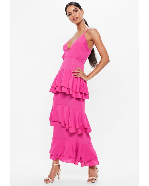 Missguided - Pink Strappy Tiered Frill Maxi Dress - Lyst