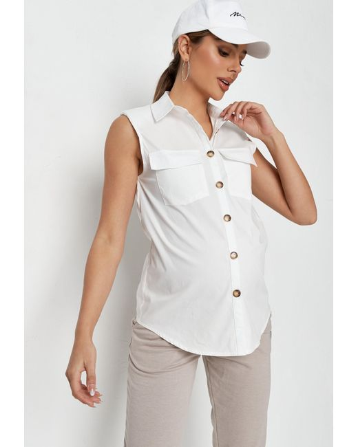 Missguided White Shoulder Pad Sleeveless Maternity Shirt