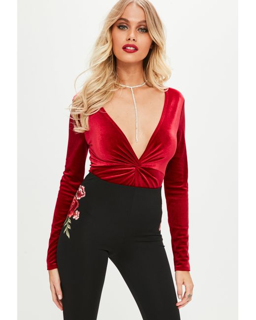 Missguided | Red Twist Front Plunge Velour Bodysuit | Lyst