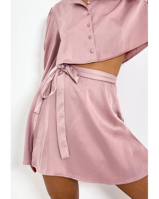 Missguided Pink Co Ord Satin Wrap Mini Skirt