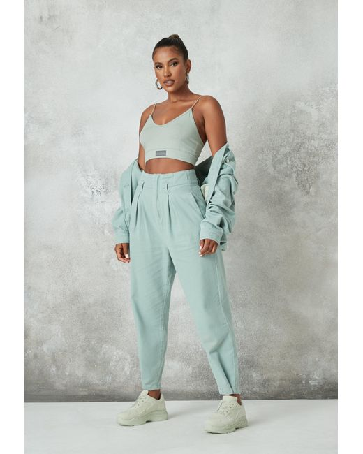 Missguided Blue Co Ord Pleat Detail Slouch Jeans