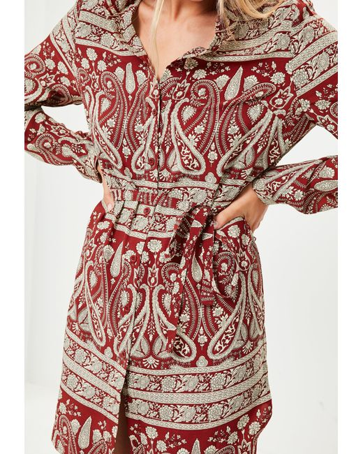Lyst Missguided Red Paisley Print Shirt Dress In Red