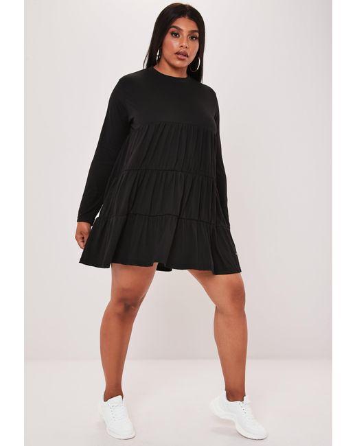 Women\'s Size Black Jersey Long Sleeve Smock Dress