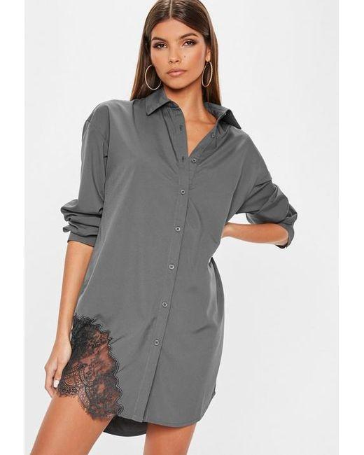 9647b5507d Missguided - Gray Grey Lace Trim Shirt Dress - Lyst ...