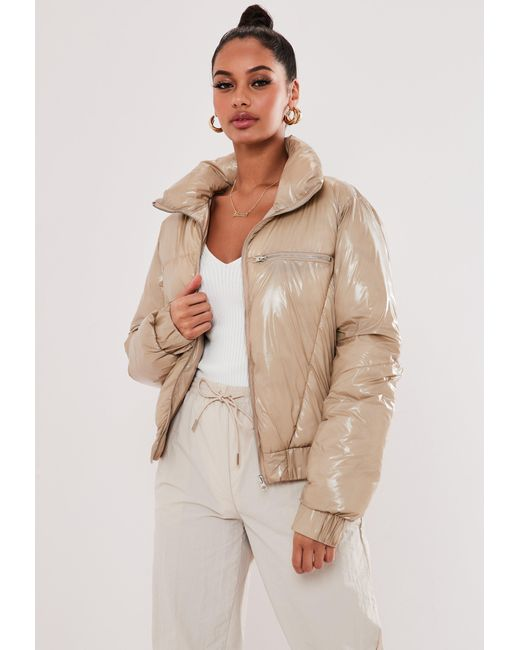 Missguided Multicolor Tan Vinyl Puffer Jacket