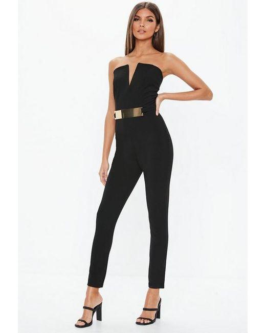254816dfdb3 Missguided Black Bandeau V Bar Belted Jumpsuit in Black - Lyst