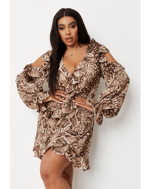 Missguided Brown Plus Size Snake Print Ruffle Wrap Mini Dress